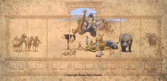 "African Menagerie - Sold <B><font size=""2"" color=""red""><br>This Original has been sold and is in a private collection</font></B> - Brian Jarvi Studios Studies for African Menagerie Paintings Brian Jarvi Originals"