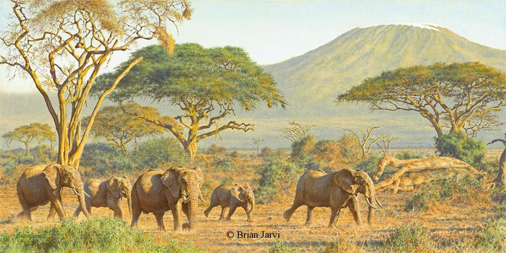 "Amboseli Elephants <br> Original Oil 15"" x 30"" <B><font size=""2"" color=""red""><br>This Original has been sold and is in a private collection</font></B> - Brian Jarvi Studios African Wildlife Original Art Brian Jarvi Artwork"