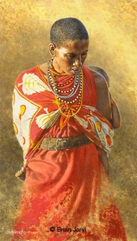 """Burden of Love<br>Original Painting 16"""" x 28"""" <B><font size=""""2"""" color=""""red""""><br>This Original has been sold and is in a private collection</font></B> - Brian Jarvi Studios African People Original Art Brian Jarvi Figurative Artwork"""