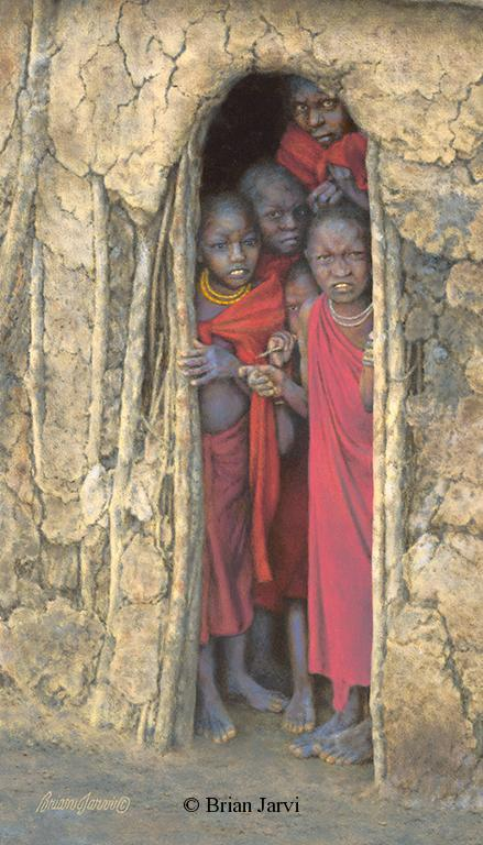 "Children of the Masai <br>Original Oil 12"" x 21"" <B><font size=""2"" color=""red""><br>This Original is available.<br>Please call Brian at 218-259-1333 for pricing information.</font></B> - Brian Jarvi Studios African People Original Art Brian Jarvi Figurative Artwork"