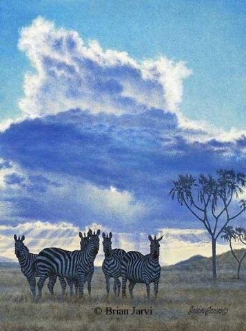 "Cloudburst <br> Original Oil 12"" x 16"" <B><font size=""2"" color=""red""><br>This Original has been sold and is in a private collection</font></B> - Brian Jarvi Studios African Wildlife Original Art Brian Jarvi Artwork"