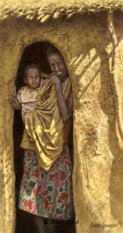 "Doorway <B><font size=""2"" color=""red""><br>This Original has been sold and is in a private collection</font></B> - Brian Jarvi Studios African People Original Art Brian Jarvi Figurative Artwork"