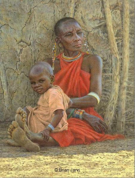 "Masai Grandmother and Child <br>Original Oil 12 X 16"" <B><font size=""2"" color=""red""><br>This Original has been sold and is in a private collection</font></B> - Brian Jarvi Studios African People Original Art Brian Jarvi Figurative Artwork"