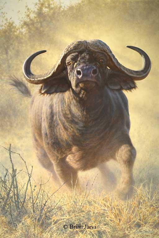 """In the Crosshairs<br> Original Oil 40"""" x 60"""" <B><font size=""""2"""" color=""""red""""><br>This Original has been sold and is in a private collection</font></B> - Brian Jarvi Studios African Wildlife Original Art Brian Jarvi Artwork"""