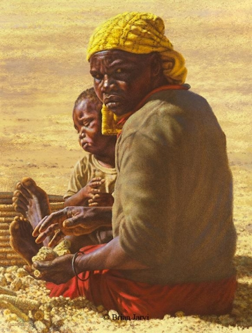 "Lost Harvest <br> Original Oil 19"" x 25"" <B><font size=""2"" color=""red""><br>This Original is available.<br>Please call Brian at (218) 326-1308 for pricing information.</font></B> - Brian Jarvi Studios African People Original Art Brian Jarvi Figurative Artwork"