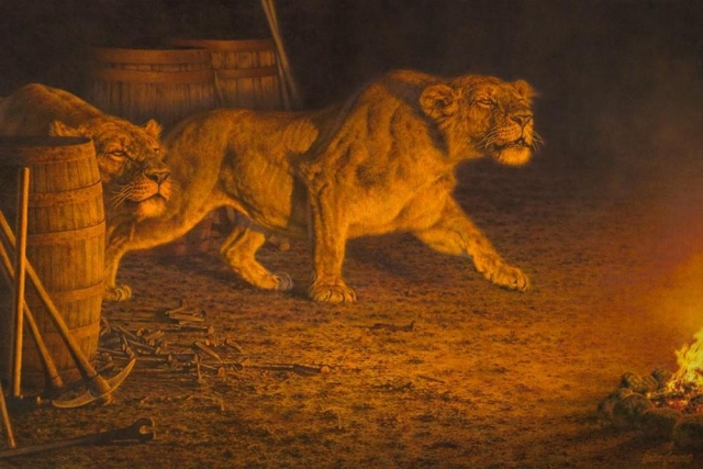 "Reign Of Terror<br>Man-Eaters of Tsavo <B><font size=""2"" color=""red""><br>This Original has been sold and is in a private collection</font></B> - Brian Jarvi Studios African Wildlife Original Art Brian Jarvi Artwork"