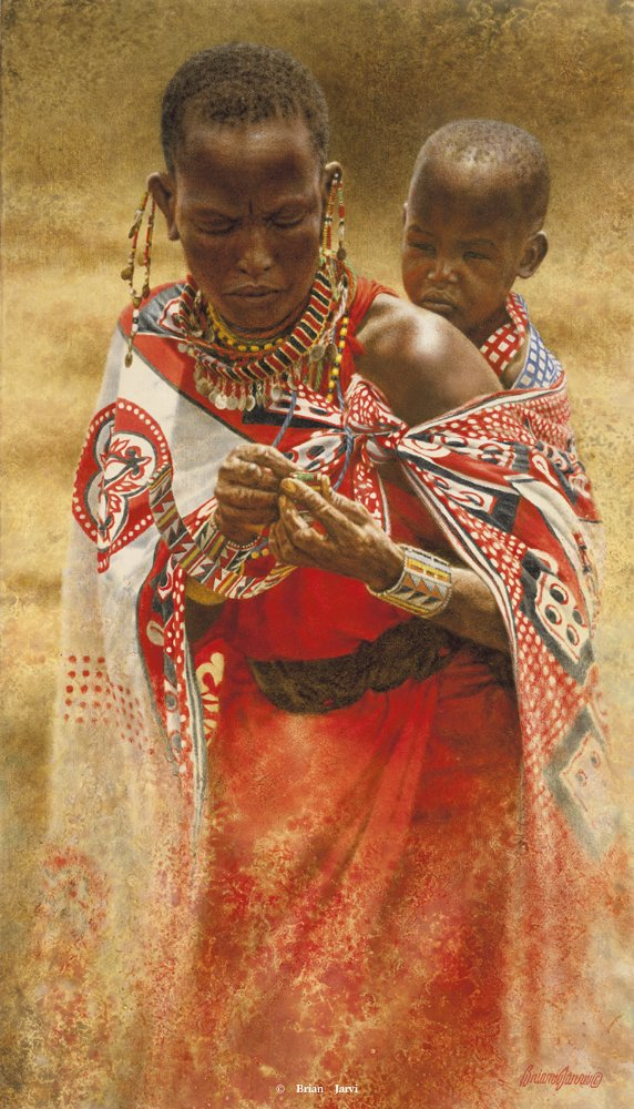 Masai Mother and Child - Brian Jarvi Studios Brian Jarvi Artwork Limited Edition Prints