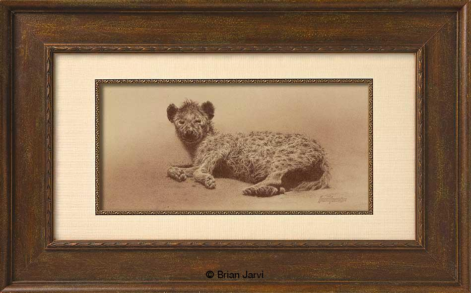 "Repose - Spotted Hyena<br>Original Conte 17"" x 8"" <B><font size=""2"" color=""red""><br>This Original has been sold and is in a private collection</font></B> - Brian Jarvi Studios African Wildlife Original Art Brian Jarvi Artwork"