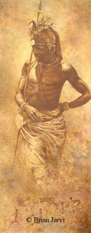 "Samburu Elite <br> Original Oil 51"" x 20"" <B><font size=""2"" color=""red""><br>This Original is available.<br>Please call Brian at (218) 326-1308 for pricing information.</font></B> - Brian Jarvi Studios African People Original Art Brian Jarvi Figurative Artwork"