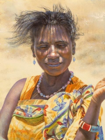 "Samburu Sun - Woman <br> 9"" x 12"" <B><font size=""2"" color=""red""><br>This Original has been sold and is in a private collection</font></B> - Brian Jarvi Studios African People Original Art Brian Jarvi Figurative Artwork"