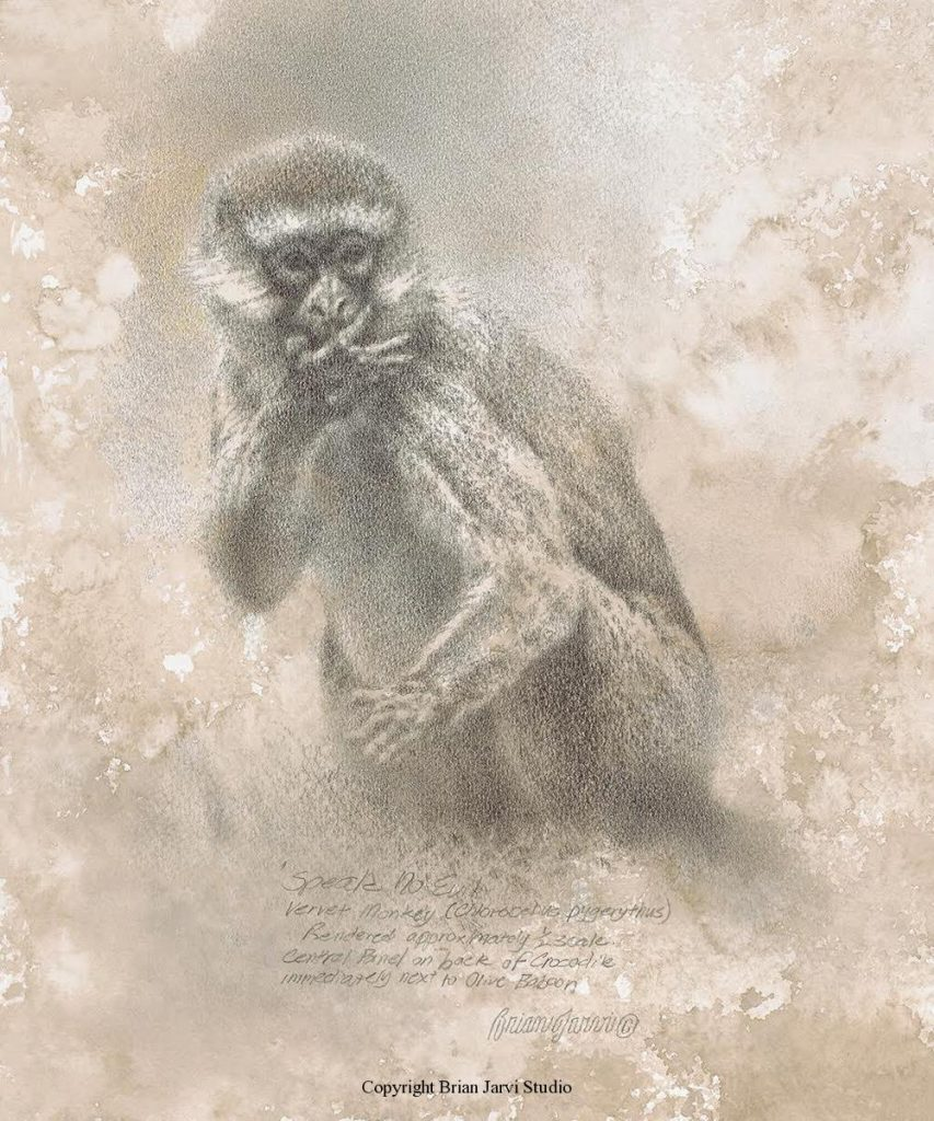 """Speak No Evil - 10"""" x 12"""" - Sold <B><font size=""""2"""" color=""""red""""><br>This Original has been sold and is in a private collection</font></B> - Brian Jarvi Studios Studies for African Menagerie Paintings Brian Jarvi Originals"""