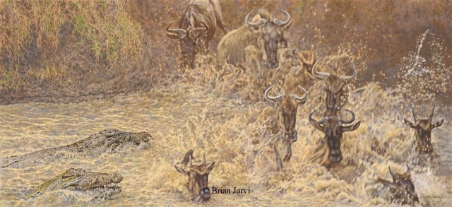 "The Dragon`s Feast - Crocodiles and Wildebeest <br> Original Oil 16"" x 36"" <B><font size=""2"" color=""red""><br>This Original is available.<br>Please call Brian at (218) 326-1308 for pricing information.</font></B> - Brian Jarvi Studios African Wildlife Original Art Brian Jarvi Artwork"