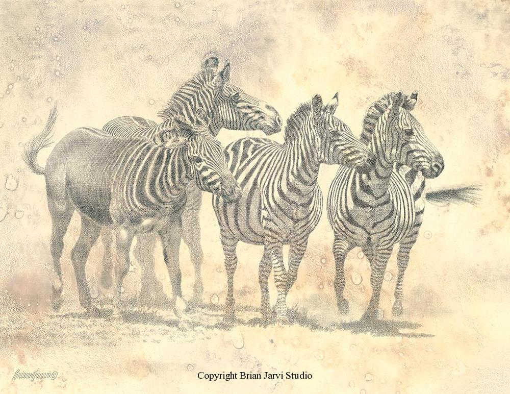 "The Four Horses, Study 18"" x 24"" - Sold <B><font size=""2"" color=""red""><br>This Original has been sold and is in a private collection</font></B> - Brian Jarvi Studios Studies for African Menagerie Paintings Brian Jarvi Originals"