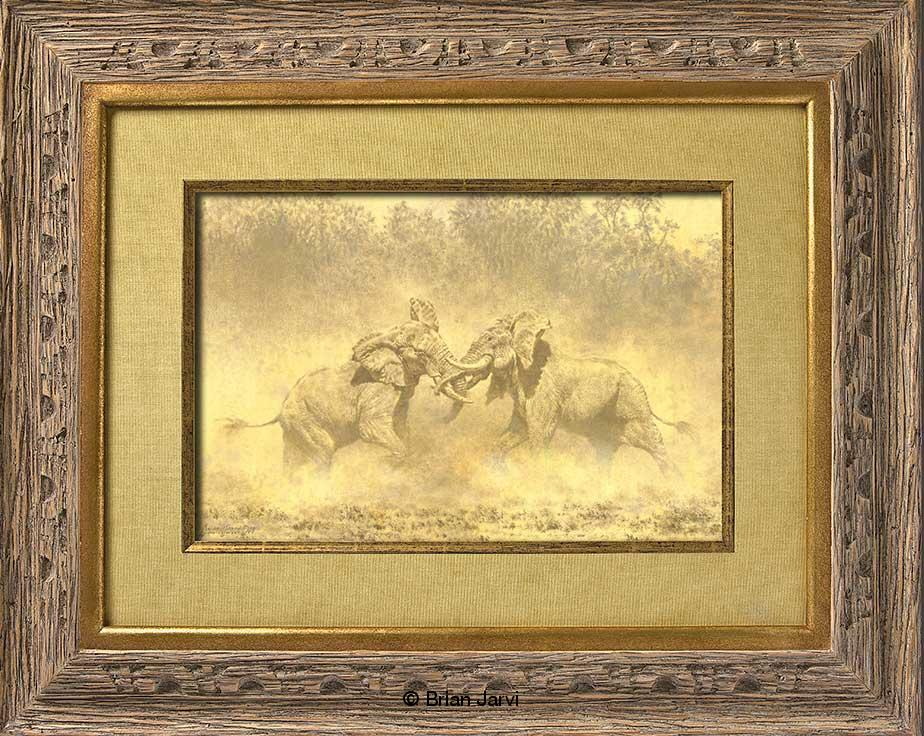 "Study I - ""The Last Gladiators""- Fighting Bull Elephants<br>Original Oil 12"" x 9"" <B><font size=""2"" color=""red""><br>This Original has been sold and is in a private collection</font></B> - Brian Jarvi Studios African Wildlife Original Art Brian Jarvi Artwork"