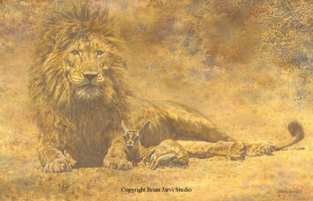 "The Lion and the Lamb <br> 23""x35.5"" Original Oil - Sold <B><font size=""2"" color=""red""><br>This Original has been sold and is in a private collection</font></B> - Brian Jarvi Studios Studies for African Menagerie Paintings Brian Jarvi Originals"