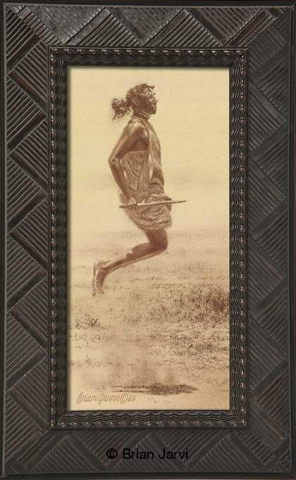 "Vertical Masai - Jumping Warrior <BR>Original Conte 5"" x 11"" <B><font size=""2"" color=""red""><br>This Original has been sold and is in a private collection</font></B> - Brian Jarvi Studios African People Original Art Brian Jarvi Figurative Artwork"