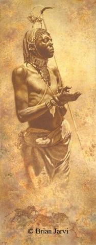 "Warrior Elite - Samburu Warrior <br> Original Oil 51"" x 20"" - Brian Jarvi Studios African People Original Art Brian Jarvi Figurative Artwork"