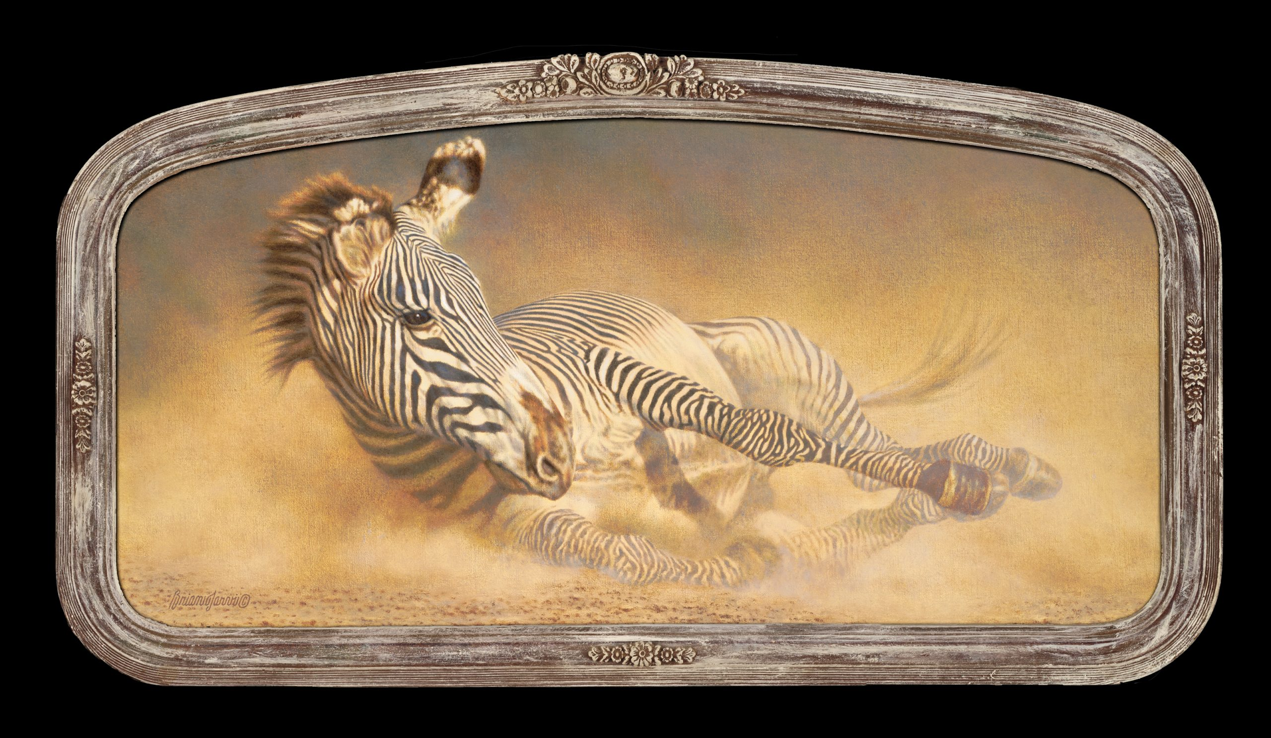 """""""Dust Bath Elysium"""" (with frame) 14"""" x 28"""" by Brian Jarvi - Sold"""